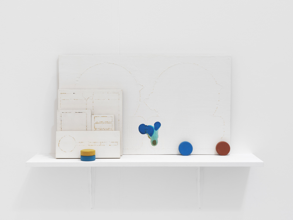 The Dies (2) 2008 Paint, dies, gesso, enamel, french polish and shelf 68 x 90 x 20.5 cm / 26.8 x 35.4 x 8.1 in