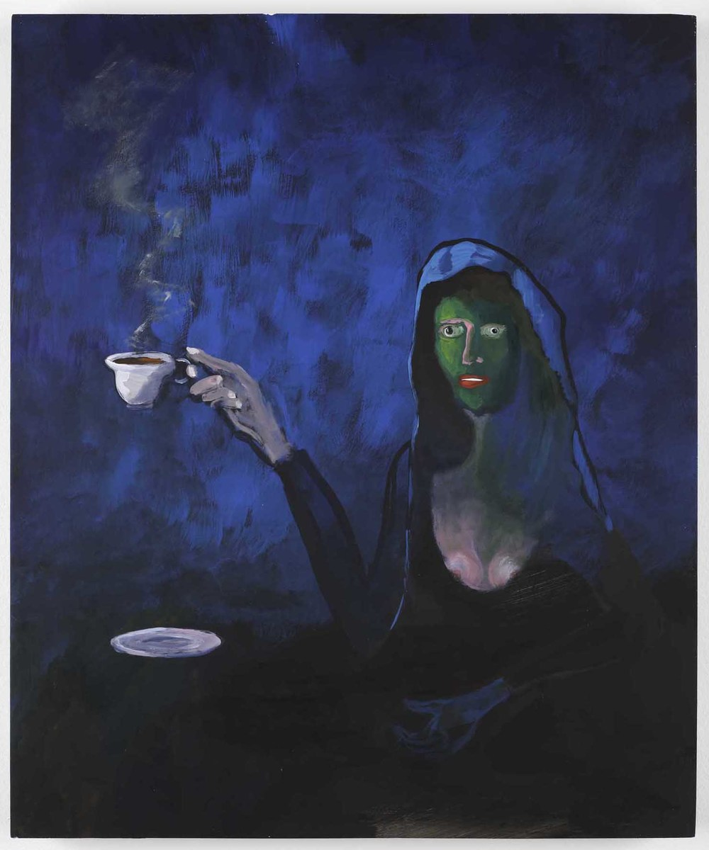 One more cup of coffee (before I go)  2011  Acrylic on icon board  60 x 50 cm / 23.6 x 19.6 in