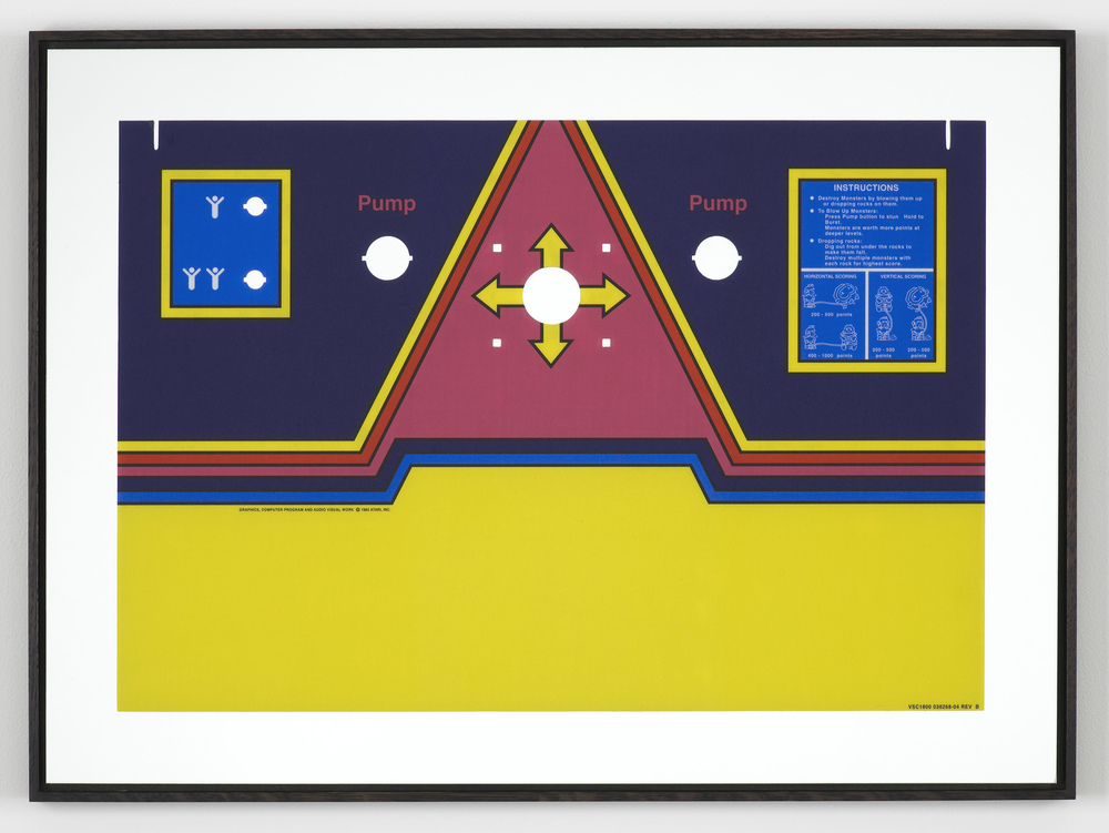 Untitled (Dig Dug) 2013 Control panel overlay on mirror, framed 53.5 x 72.5 cm / 21 x 28.5 in