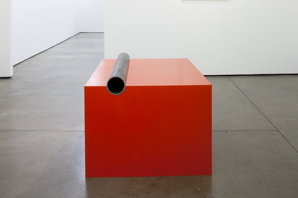 Simon Martin Untitled (After Donald Judd) 2011 Cadium red light oil on wood with iron pipe 56 x 115 x 78 cm / 22 x 45.2 x 30.7 in