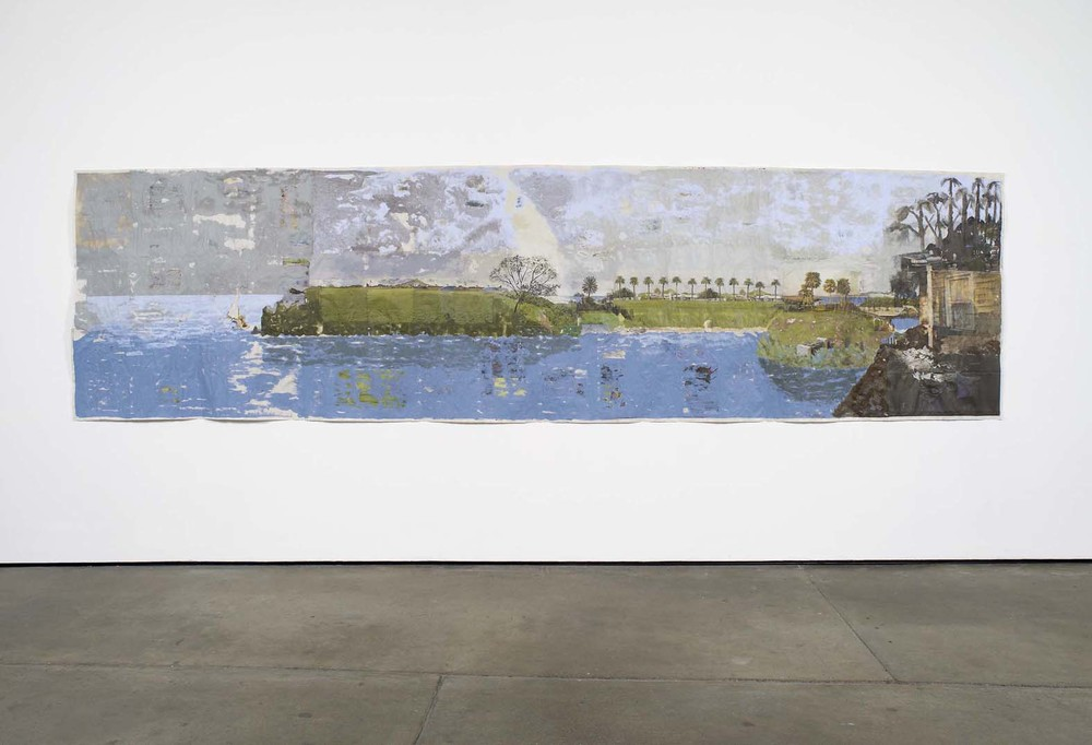 Where Everything Lived for Waiting 2010 Acrylic on newsprint 127 x 475 cm / 50 x 187 in