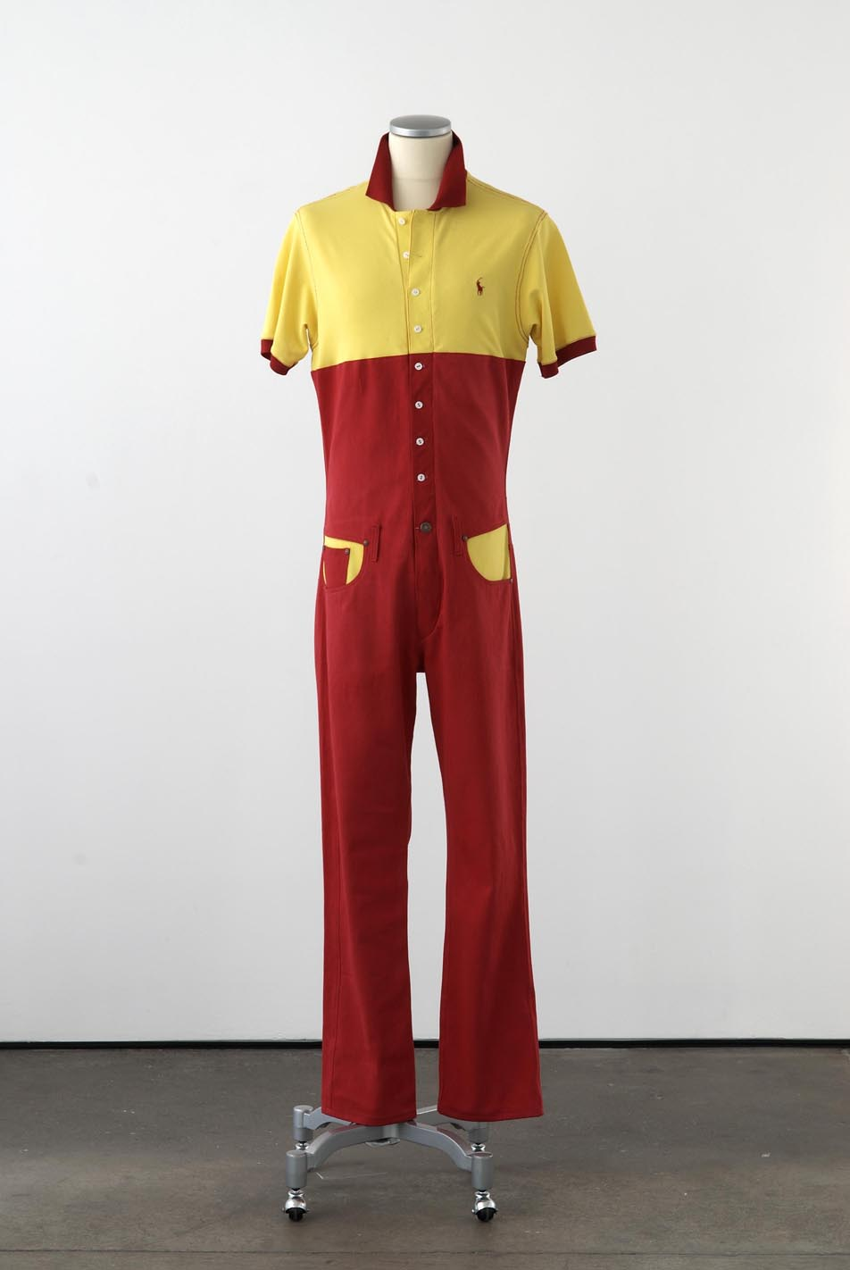 Matthew Darbyshire Standardised Production Clothing, Version 2 2009 Red denim, yellow airtex & fittings on mannequin 185 x 45 x 34 cm