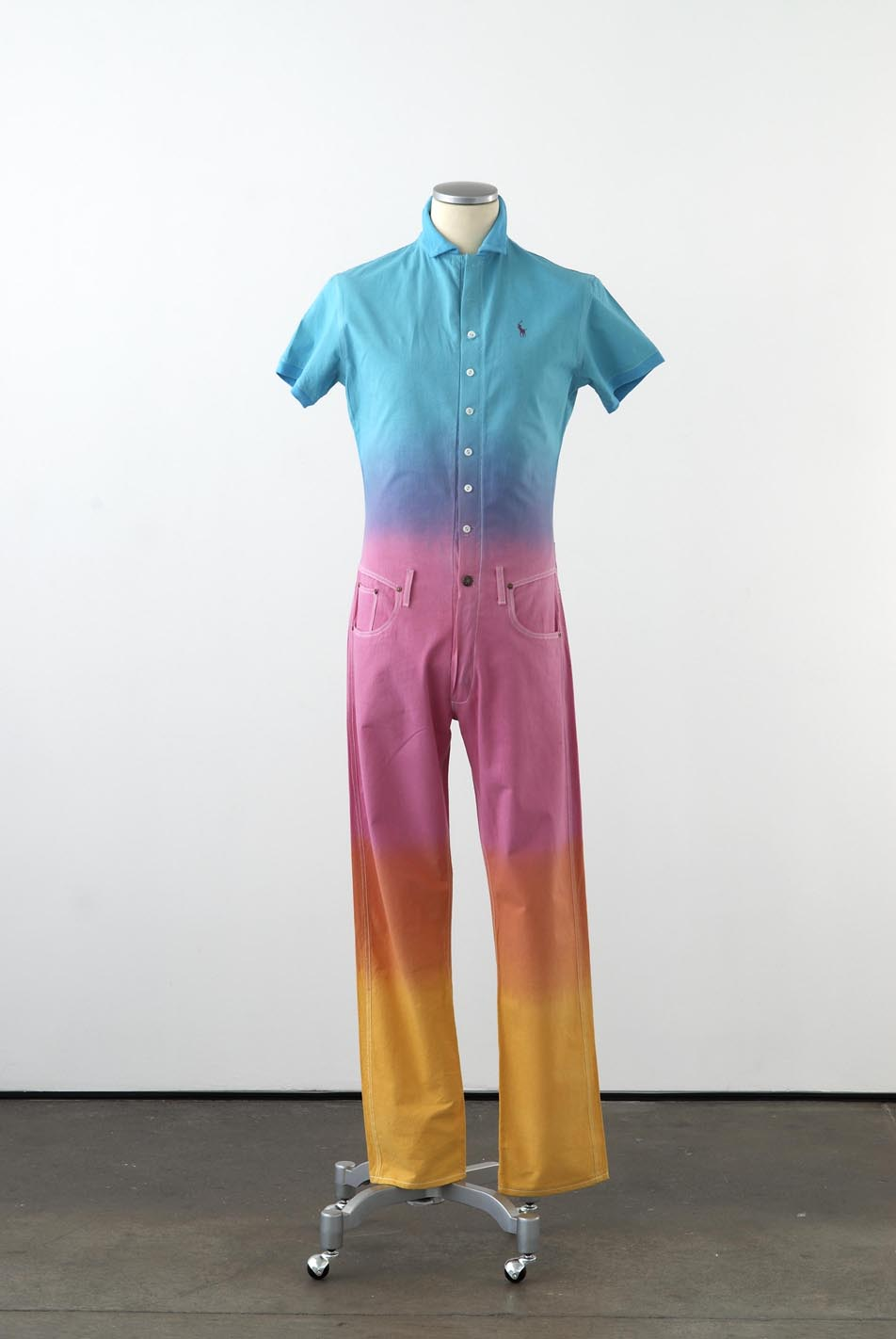 Matthew Darbyshire Standardised Production Clothing, Version 6 2009 Dip dyed calico, cotton jersey & fittings on mannequin 185 x 45 x 34 cm