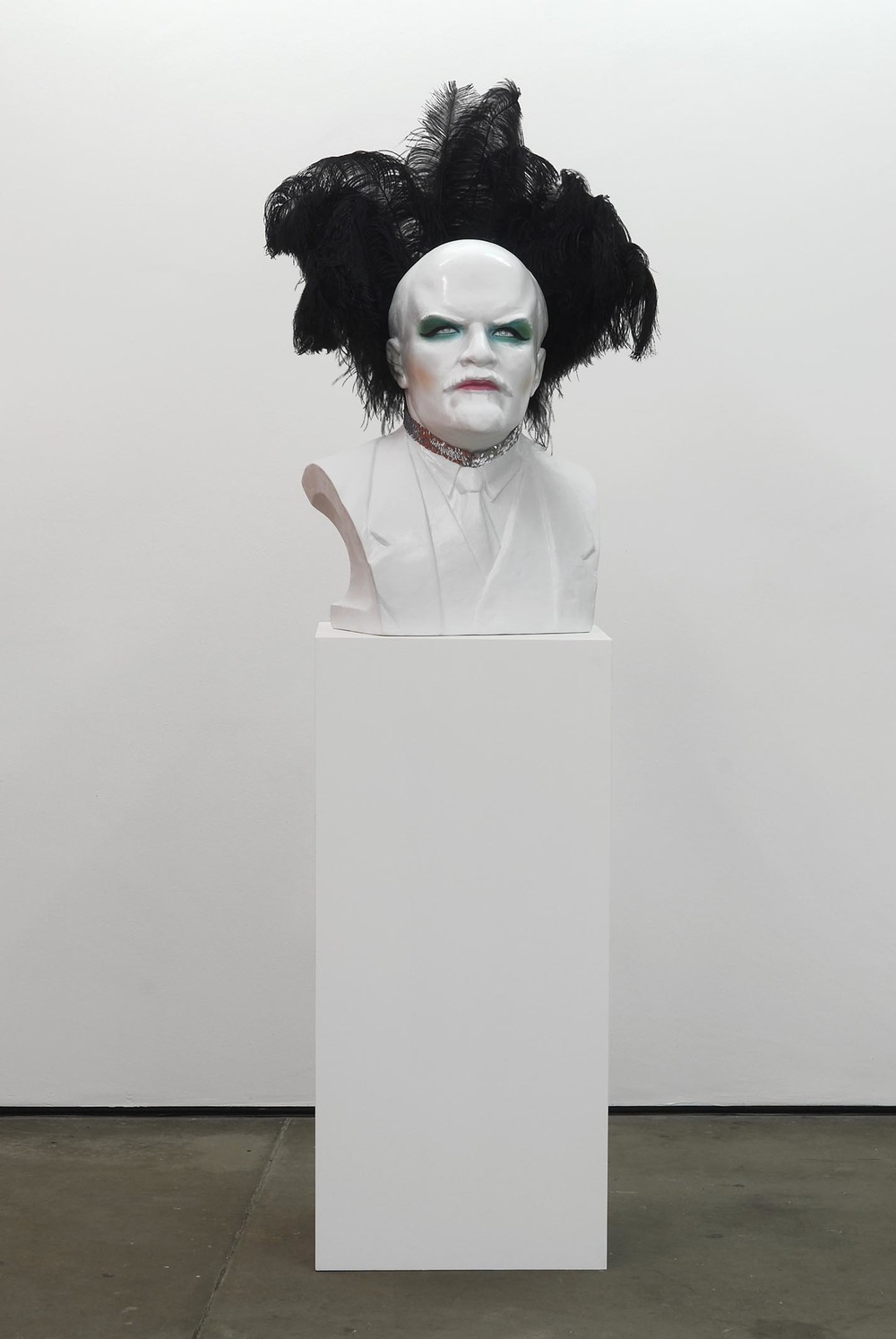 Diana (At the Frontier) 2008 ostrich feathers, sequin collar, ceramic bust and plinth 100 x 64 x 48cm