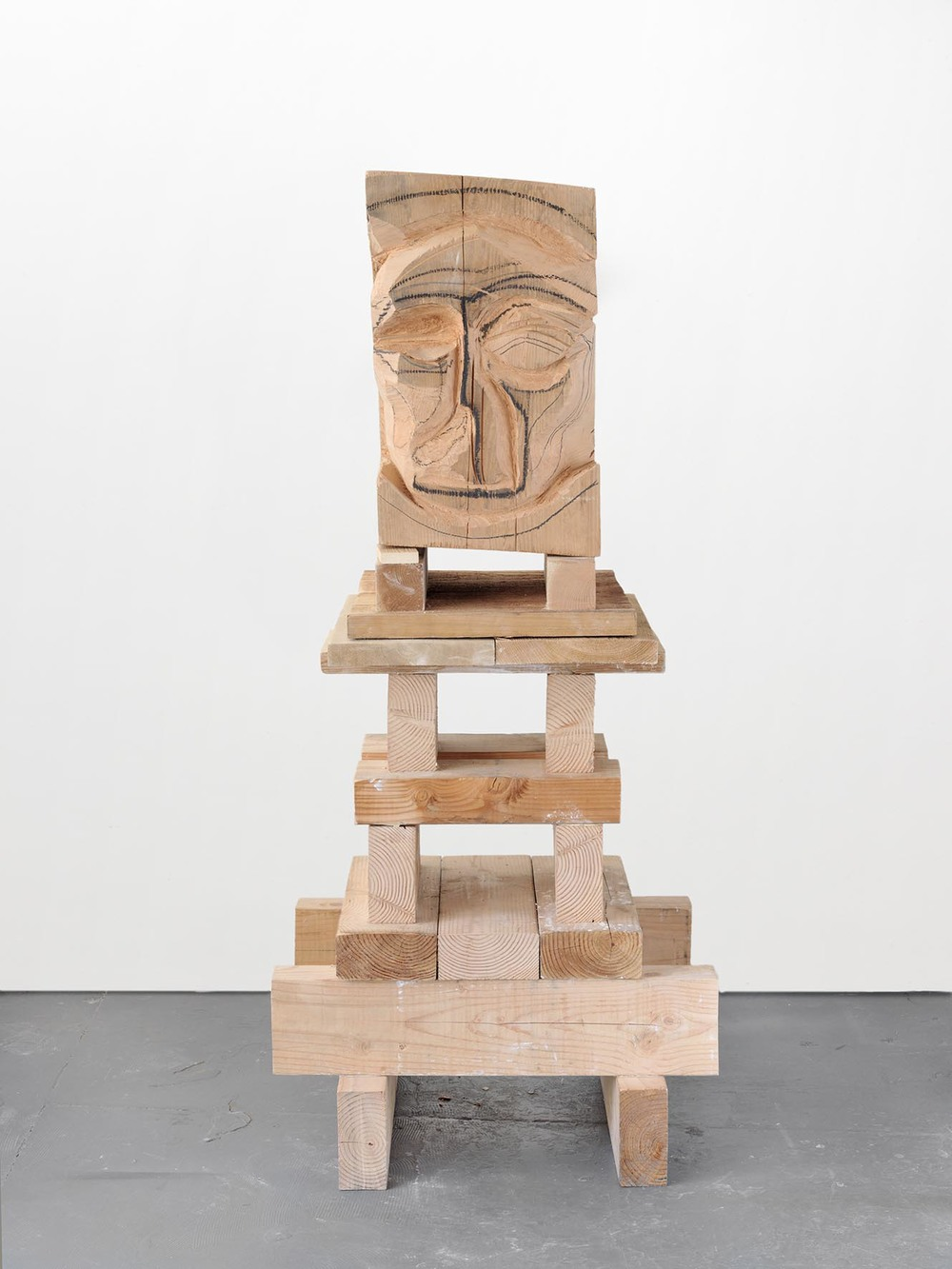 Carving 2008 california redwood, wood, graphite, oil stick 190.5 x 73.7 x 83.8 cm