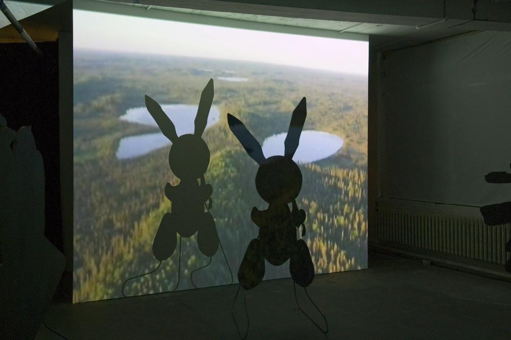 Around, About Expanded Field Sculpture Silhouette Props: (J. Koons 'Rabbit' 1986) 2007 Projection, MDF, Paint, Steel stands