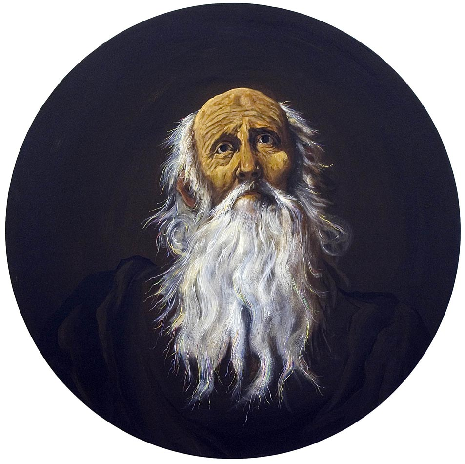 The Penitent Saint Jerome 2006 acrylic on board 70 cm diameter