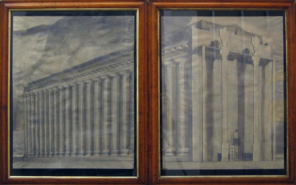Neoclassical Building with New Facade in the Style of Michael Graves 2006 ink, gouache & pencil on paper in artist's frames 2 parts: each 75x59cm