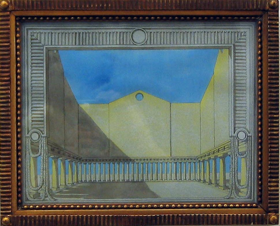 Plaza Monument 2006 ink, gouache & coloured pencil on paper in artist frame 33cm x 41cm
