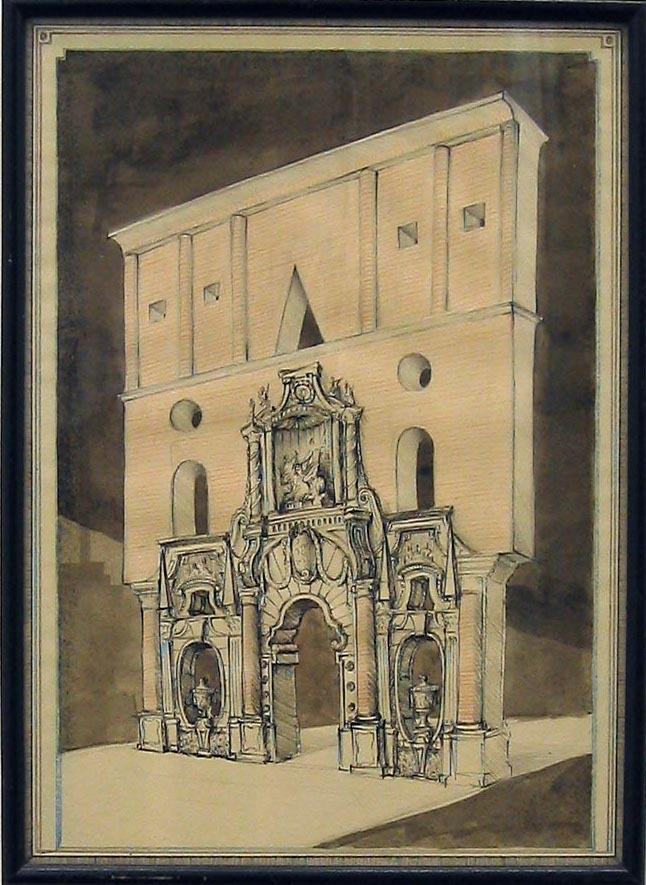 Triumphal Arch in the Style of Juvarra & Leon Krier 2006 ink & gouache on paper in artist's frame 22cmx31cm