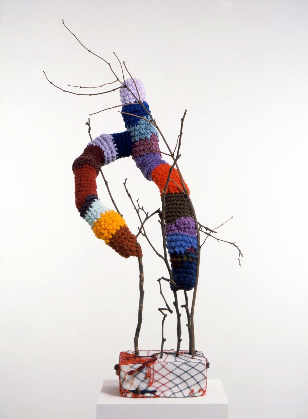 Gewächs 2005 plaster, wool, wood, stones, fabric, plastic & thread 131x80x64cm