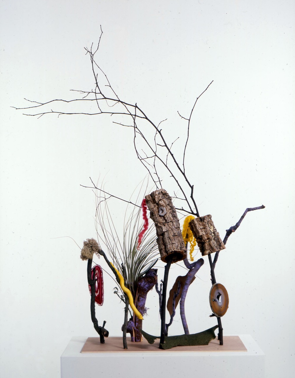 Tillandsia 2005 wood, bark, Tillandsia, gemstones, paint, wool, thread, tomato vine, moss & screws 113x89x56cm