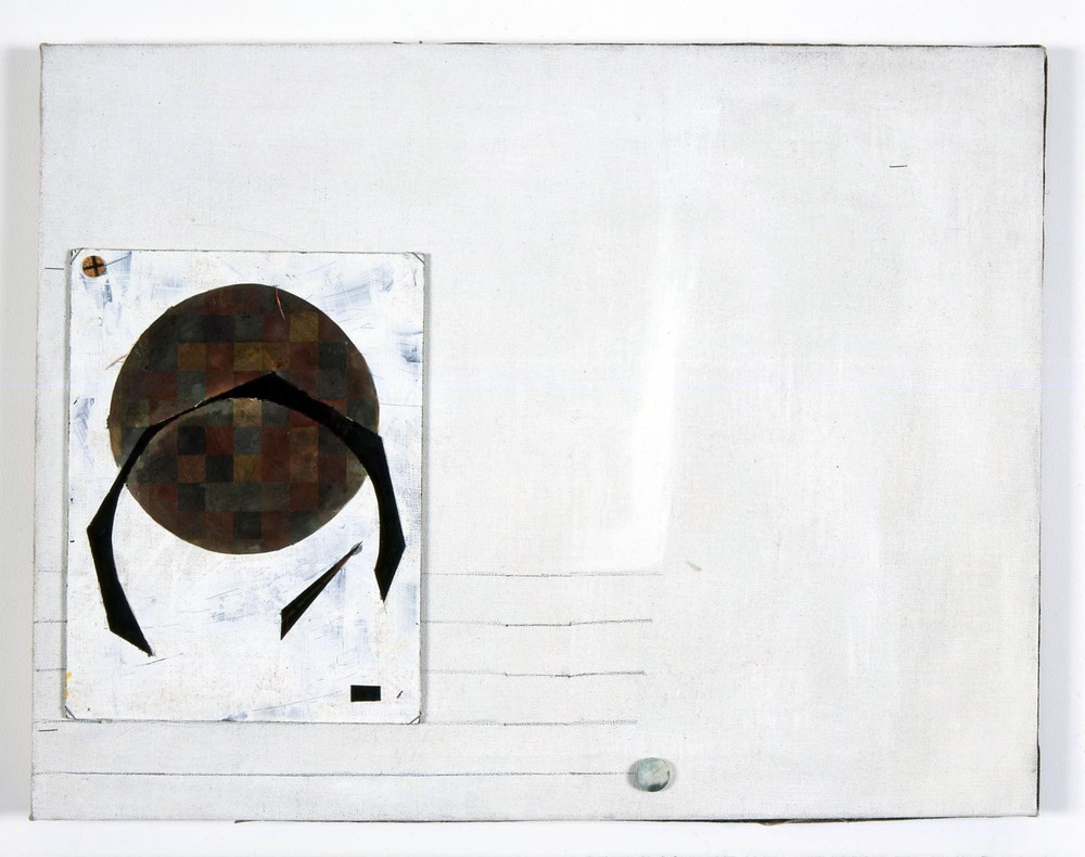 Untitled   2005   oil paint, graphite, felt, board and paper on linen   50x65cm