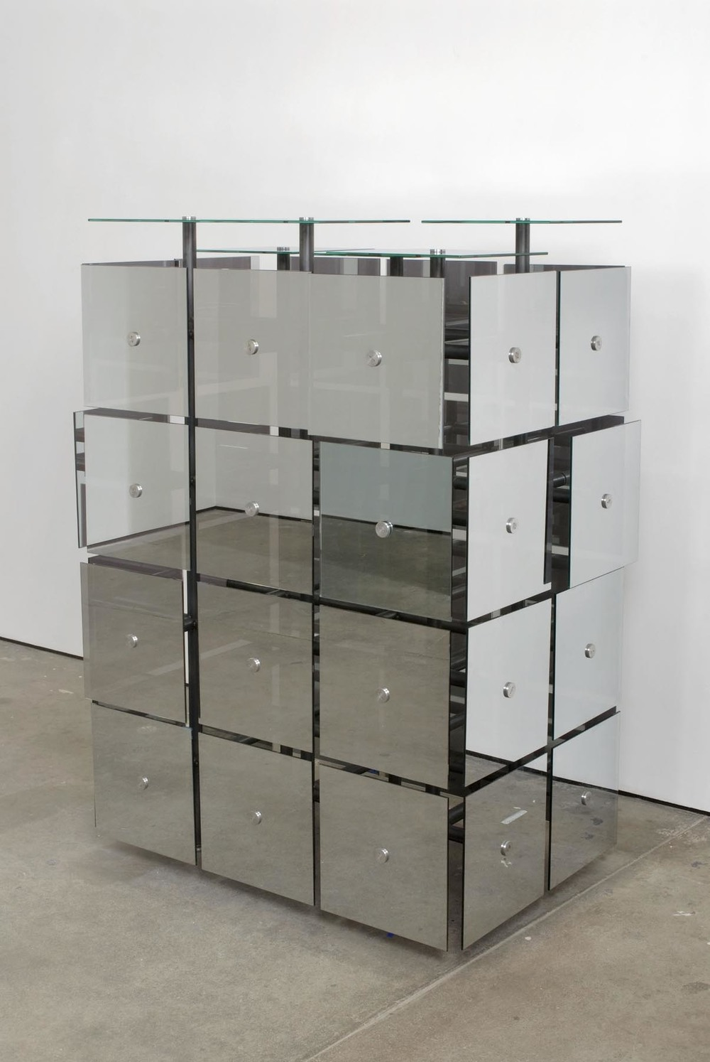 The Breeder 2007 Steel, Mirrored Spy Glass, Butterfly Pupa, Butterflies 112 x 160 x 76 cm / 44 x 63 x 30