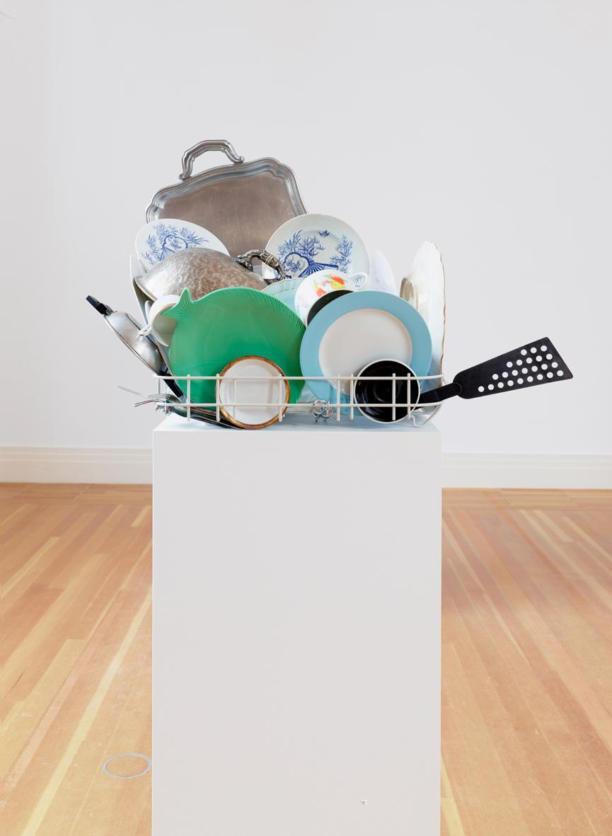 Abwaschskulptur #4  2013  Kitchenware, plinth  Approx. 175 x 75 x 53 cm / 68.8 x 29.5 x 20.8 in
