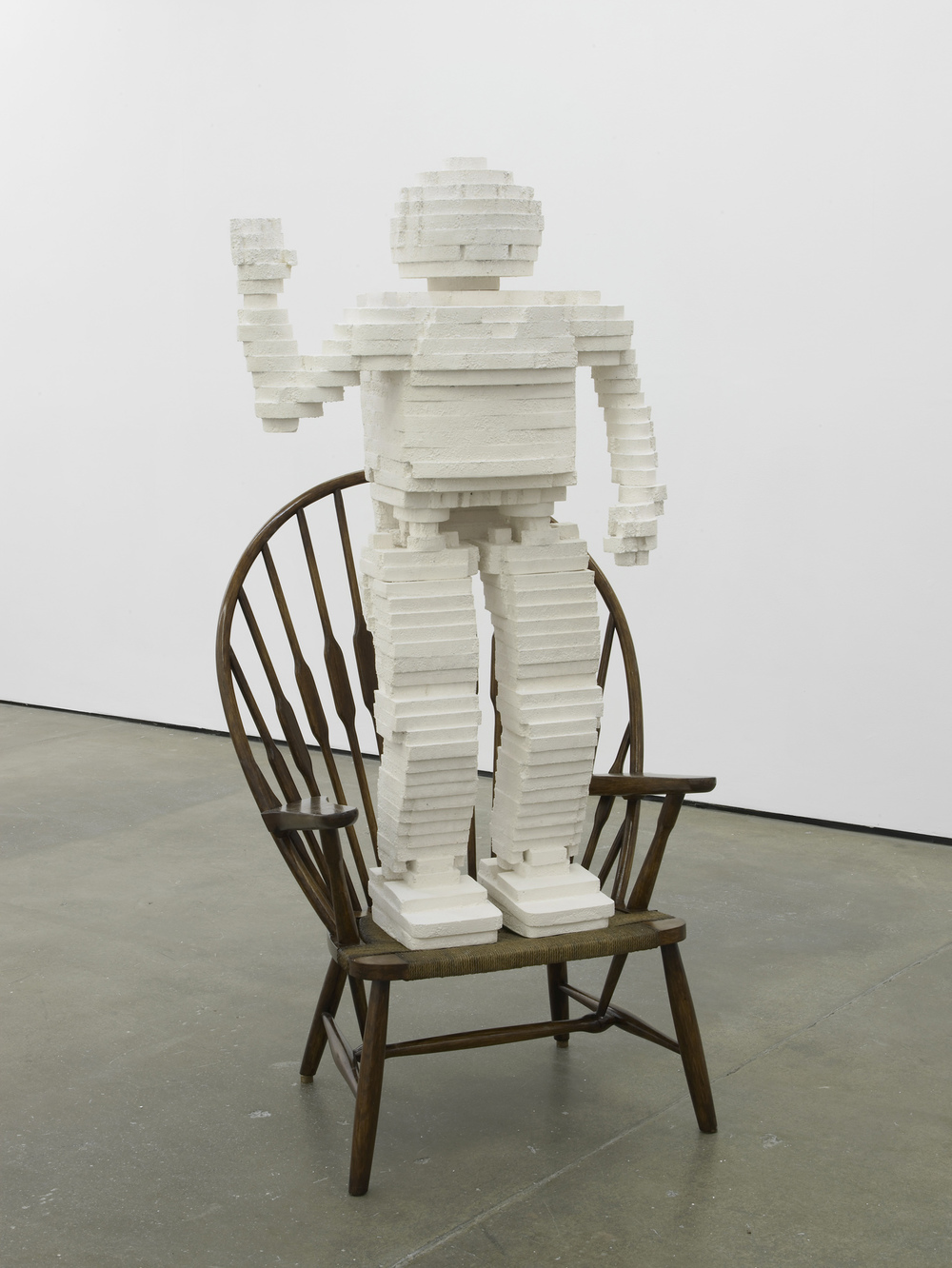 Asimo Robot  2014  Plaster and 20th century Windsor chair  164 x 85 x 50 cm / 64.5 x 33.4 x 19.6 in