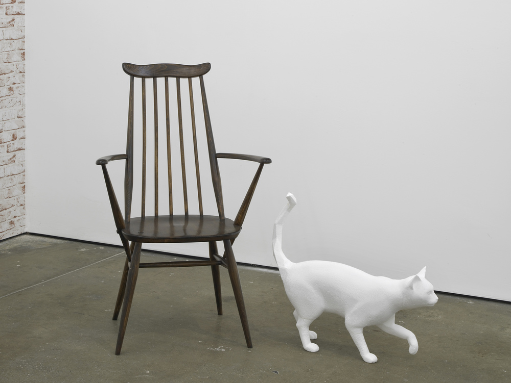 Walking Cat   2014  Polystyrene and 20th century Windsor chair  195 x 150 x 65 cm / 76.7 x 59 x 25.5 in