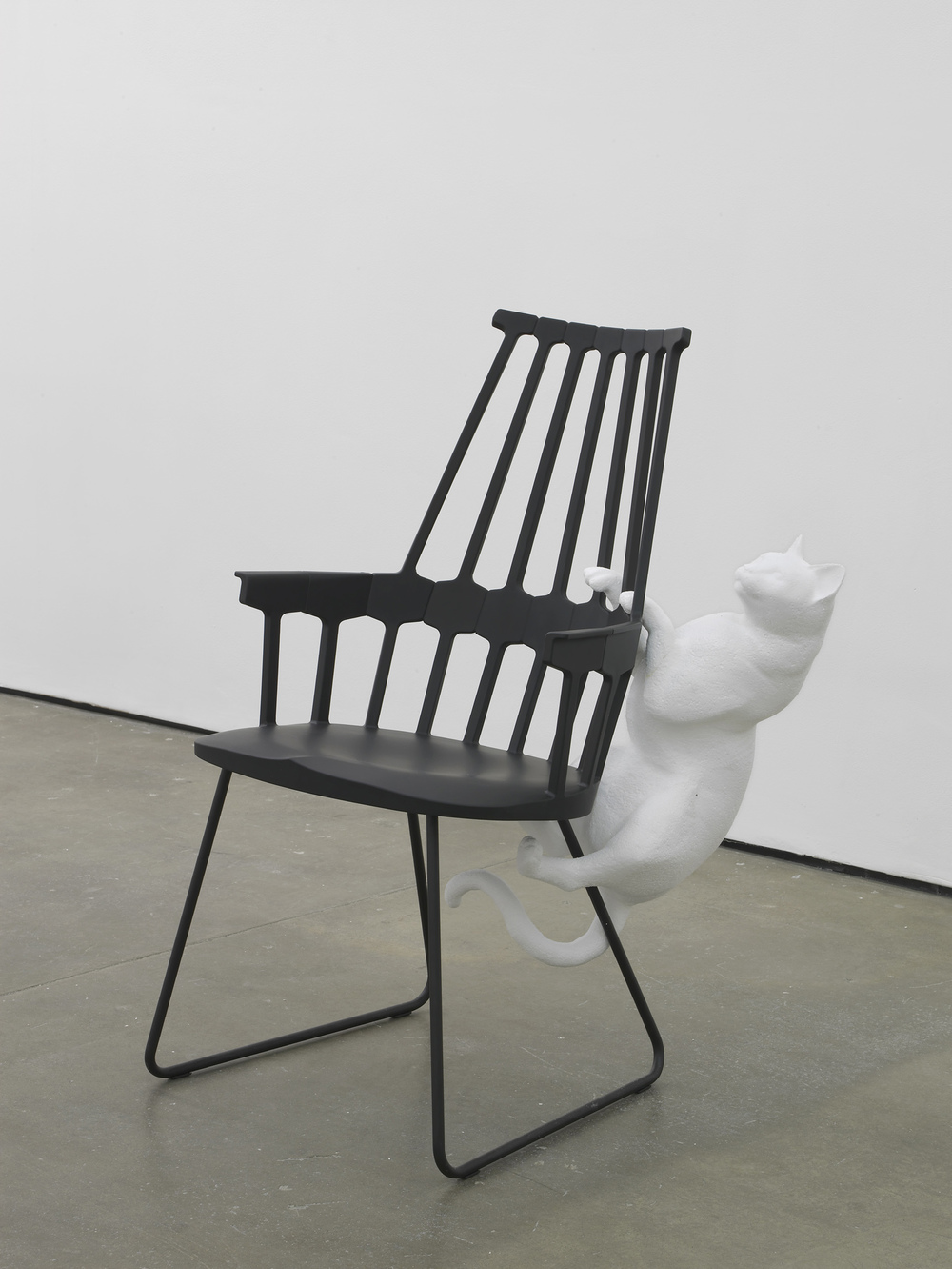 Leaping Cat  2014  Polystyrene and 21st century Windsor chair  98 x 72 x 60 m / 38.5 x 28.3 x 23.6 in