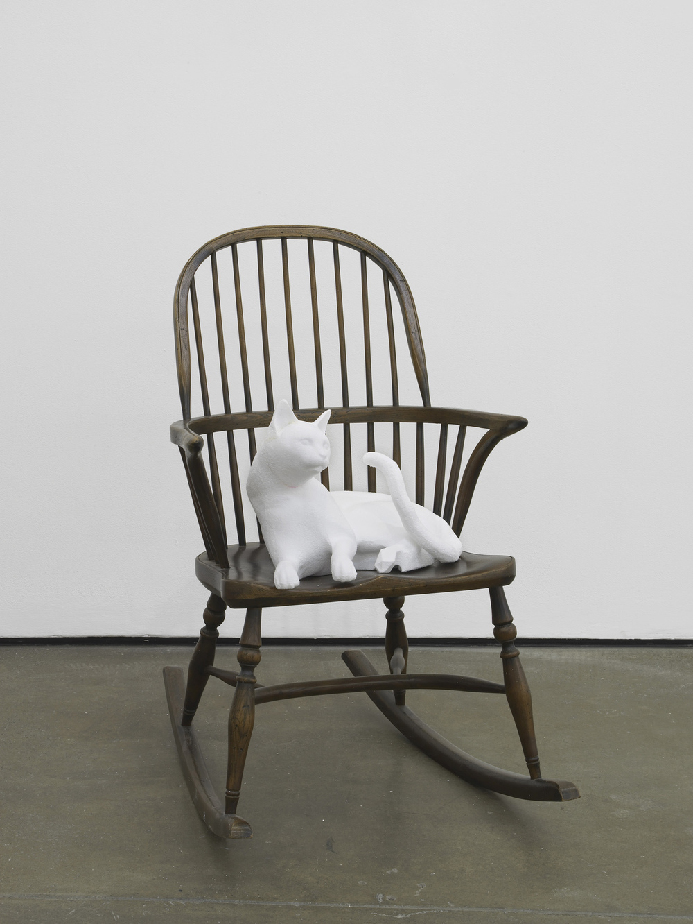 Seated Cat  2014  Polystyrene and 18th century style Windsor rocking chair  100 x 62 x 84 cm / 39.3 x 24.4 x 33 in