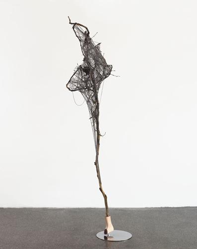 www  2010  metal, branch, plastic branch, plastic foot, synthetic resin, wool, glue  252 x 98 x 85 cm / 99 x 38.5 x 33.4 in