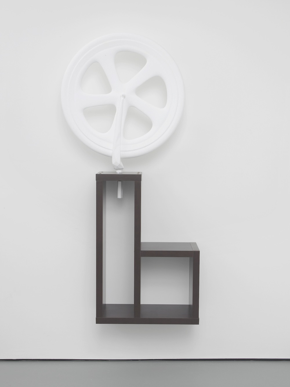 Standardised Form No.5 (bicycle wheel) 2013 3D model in polystyrene on artificial wood support approx 168 x 85 x 29 cm