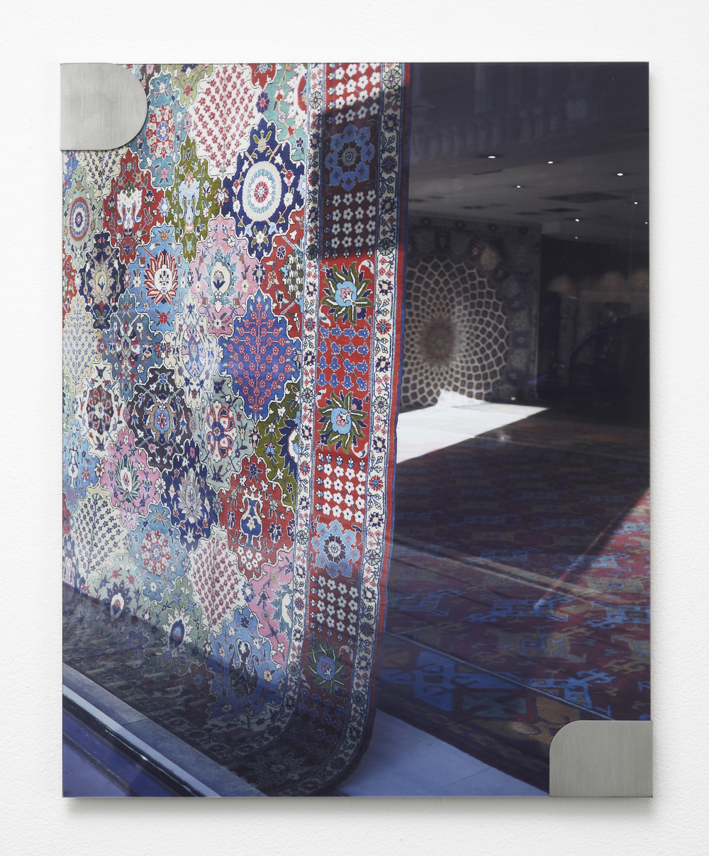 Nicole Wermers Carpets and Glass #1 2012 C-print, stainless steel clips, clip frame 50 x 40 cm