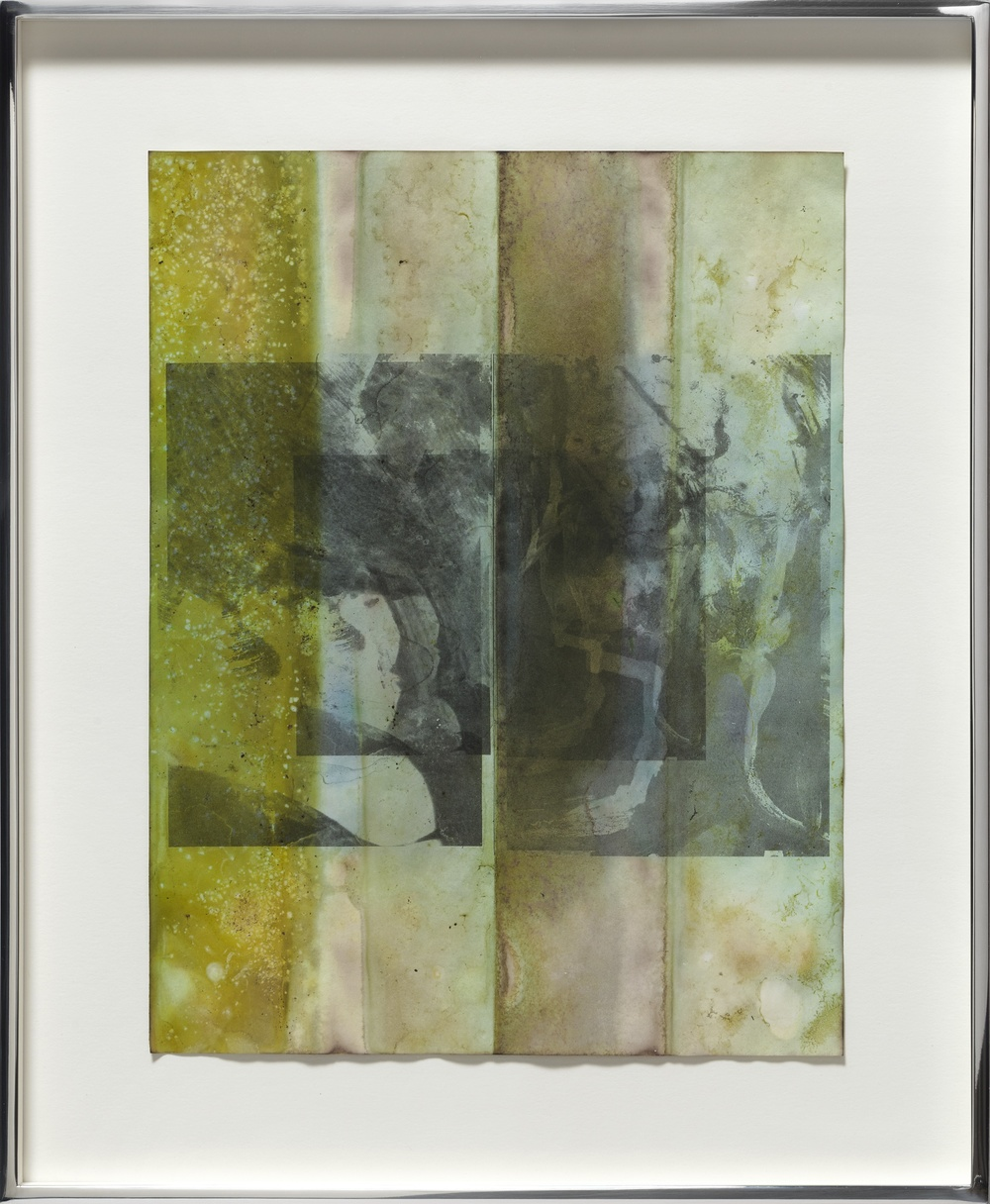 Untitled 2013 Inks and mixed media on dyed inkjet print  36.8 x 30.4 cm / 14.5 x 12 in framed