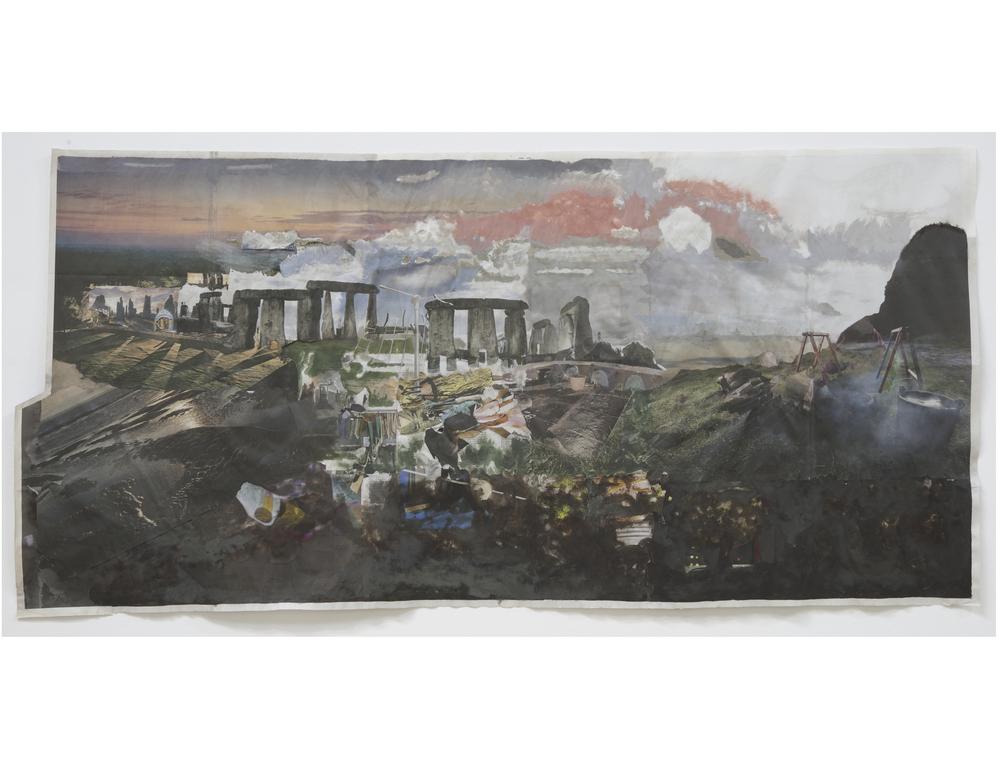 Untitled 2009 Acrylic on newsprint Artwork: 86 x 182 cm / 33.9 x 71.7 in