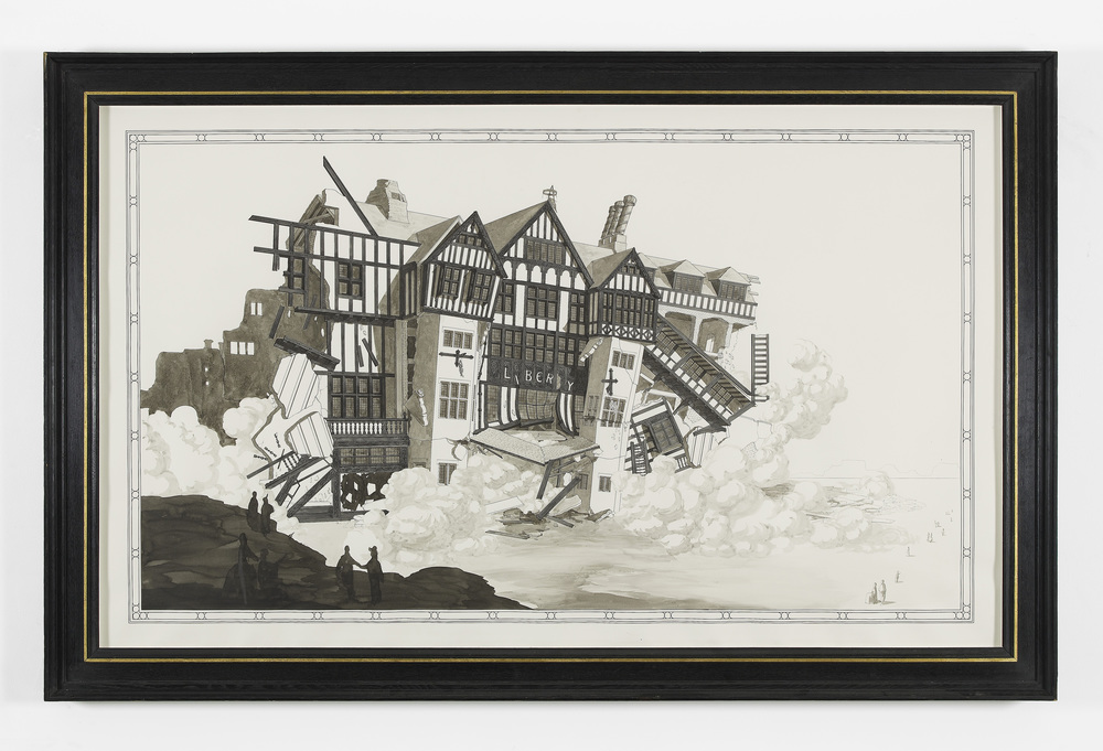 Liberty's department store under demolition 2012 Ink and watercolour on paper in artist's frame 140 x 220 cm / 55 x 86.6 in