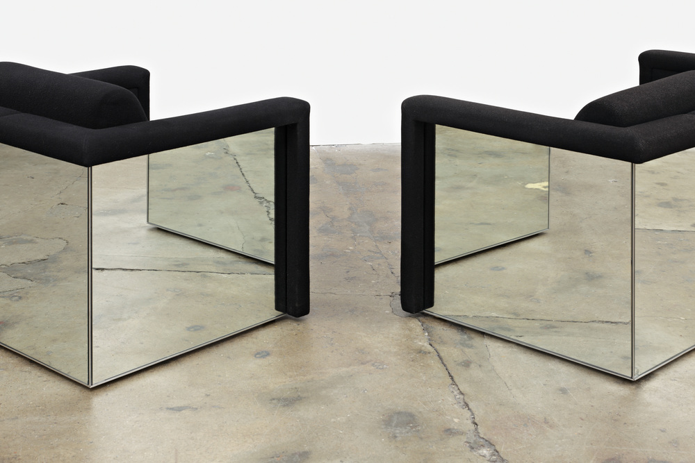 Robert & Trix Haussmann Lounge Seating 1988 Mirrored sofa and chair 3 pieces: 138 x 72 x 86 cm; 82 x 72 x 86 cm; 82 x 72 x 86 cm