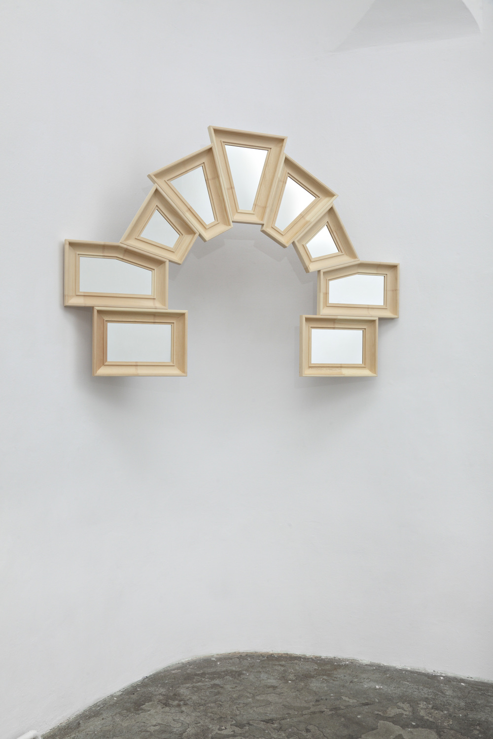 Robert & Trix Haussmann Lehrstück 1987/2014 Wood and acrylic mirror 177 x 122.5 x 6cm/ 69.7 x 48.2 x 2.4in