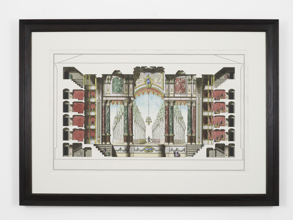 Theatre Section with Stage Design for an Oliver Cromwell Ballet 2014 Ink and watercolour on paper in artist's frame 102 x 142.5 x 4.2 cm / 40.1 x 56.1 x 1.6 in