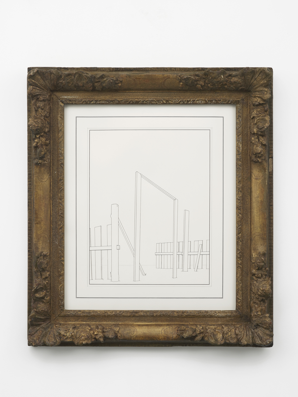 House under Construction 2014 Ink and graphite on paper in artist's frame 80.5 x 71 x 8.5 cm / 31.6 x 27.9 x 3.3 in