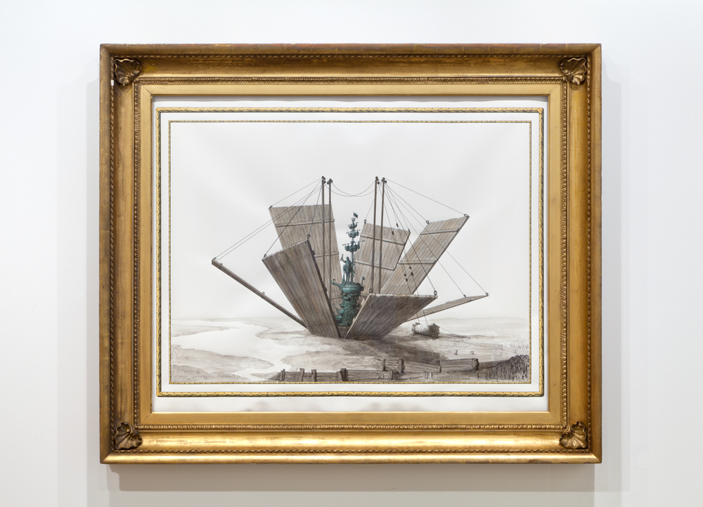 Dramatic unveiling of monument to Peter the Great in Moscow, 1997 2014 Ink and watercolour on paper in artist's frame 130 x 155 cm / 51.1 x 61 in