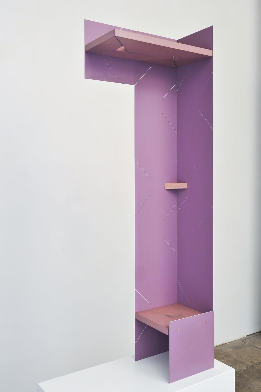 Half Arch (Lavender) 2014 Euro-beech hardwood, steel, copper rivets, enamel, wax 121.9 x 40.6 x 20.3 cm / 48 x 16 x 8 in Plinth: 60.9 x 60.9 x 30.4 cm / 24 x 24 x 12 in