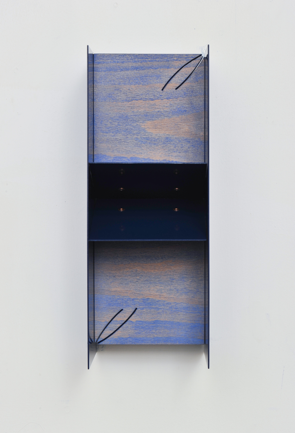 Small Plaque (With Wedge/Blue) 2014 Euro-beech hardwood, steel, copper rivets, enamel, wax 27.9 x 10.6 x 12.7 cm / 11 x 4.2 x 5 in