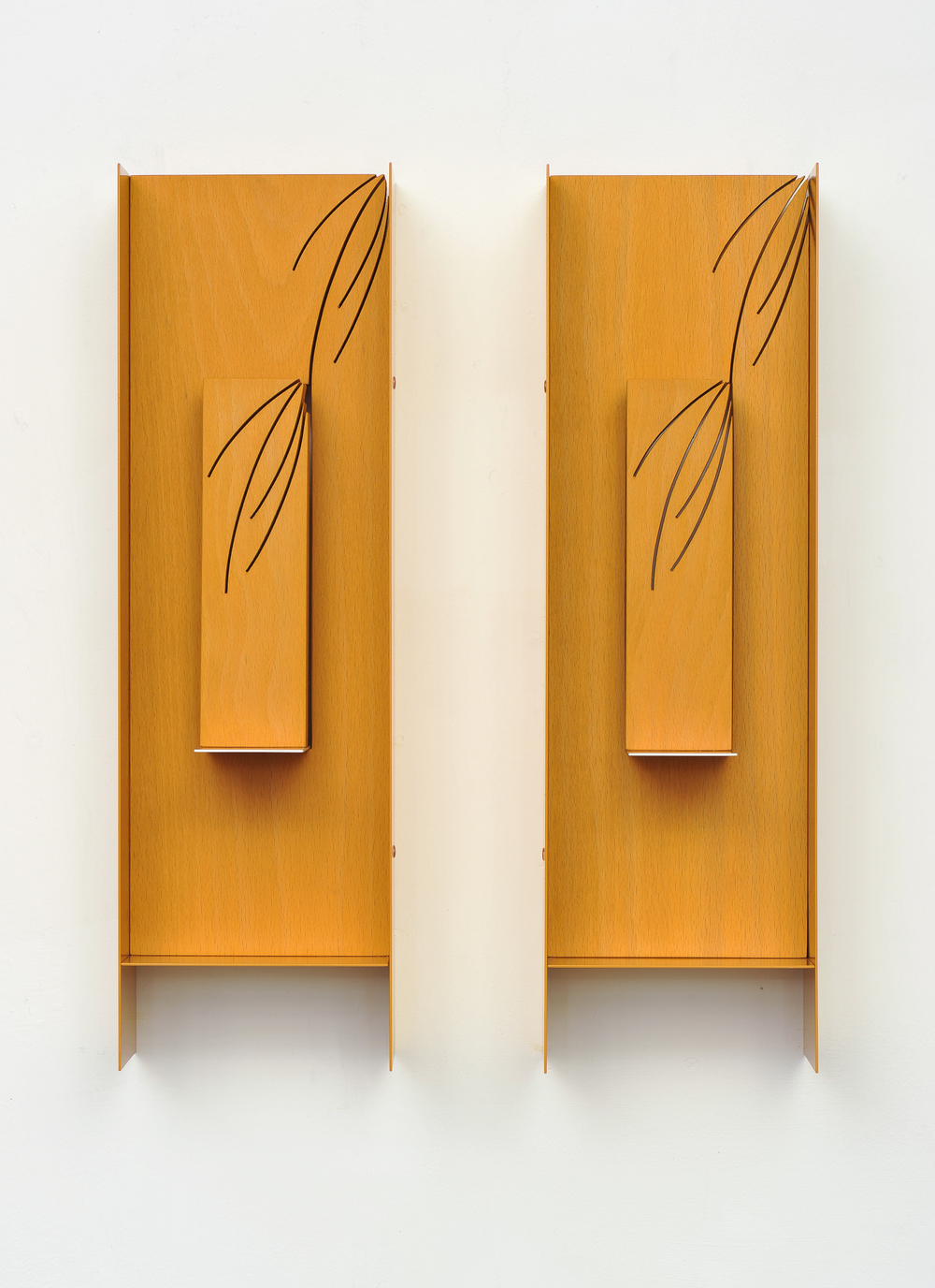Double Plaque (Handles) 2014 Euro-beech hardwood, steel, copper rivets, enamel, wax 43.1 x 12.7 x 10.1 cm / 17 x 5 x 4 in