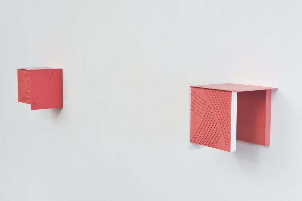 Four Corners (Frame/Pink) 2014 Euro-beech hardwood, steel, copper rivets, enamel, wax 4 parts, each: 20.3 x 20.3 x 17.7 cm / 8 x 8 x 7 in