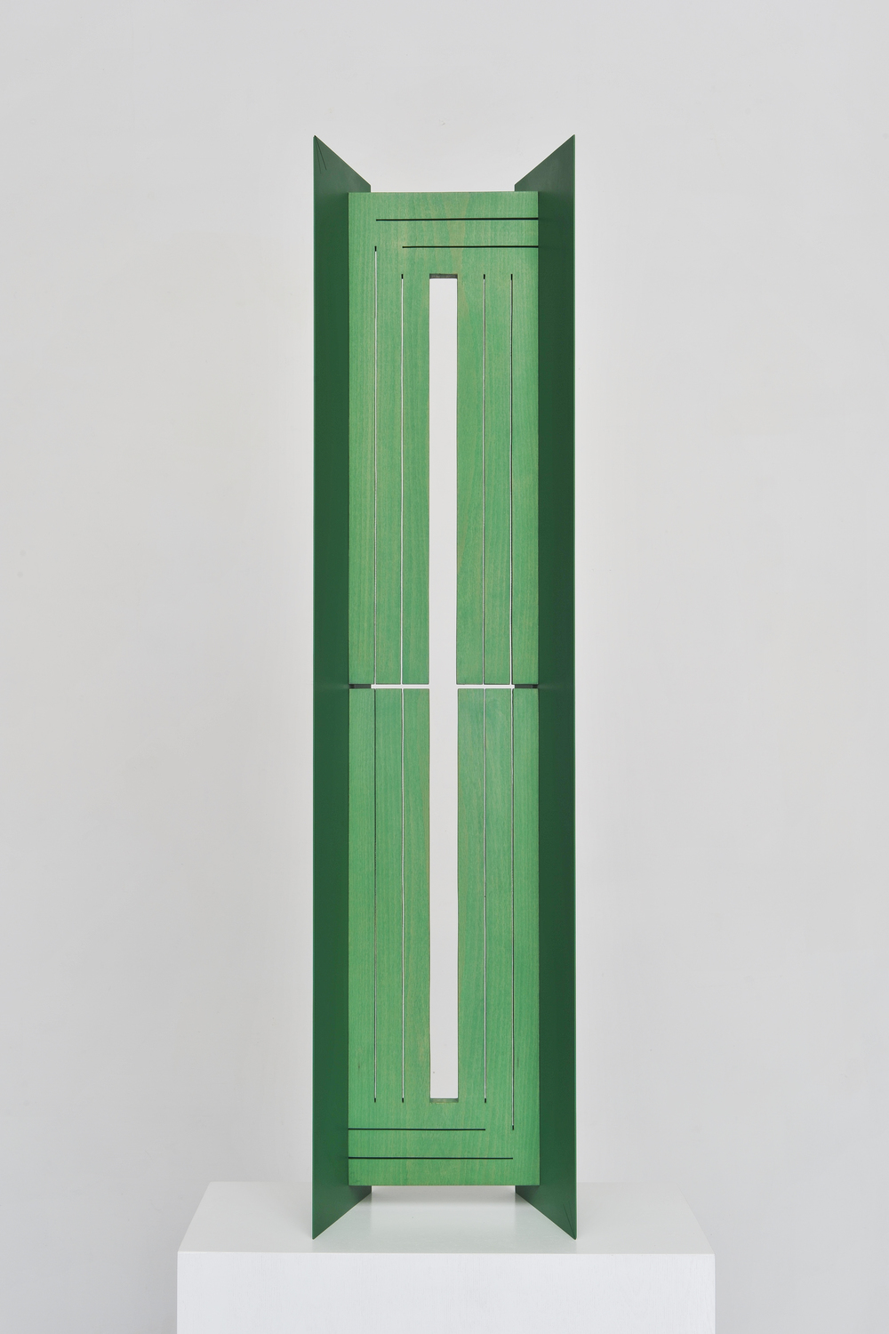 Window (Thin) 2014 Euro-beech hardwood, steel, copper rivets, enamel, wax 96.5 x 22.8 x 17.7 cm / 38 x 9 x 7 in Plinth: 91.4 x 38.1 x 27.9 cm / 36 x 18 x 10 in