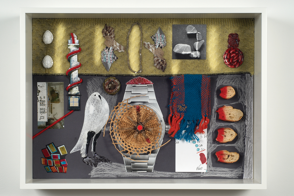5 O'Clock 2009 fabrics, paint, pencil, crayon, paper, bread, tin, photographs, basket, painted nutshells, wood, wool, necklace, earring, wicker basket and glue 53.7 x 73.2 x 16cm