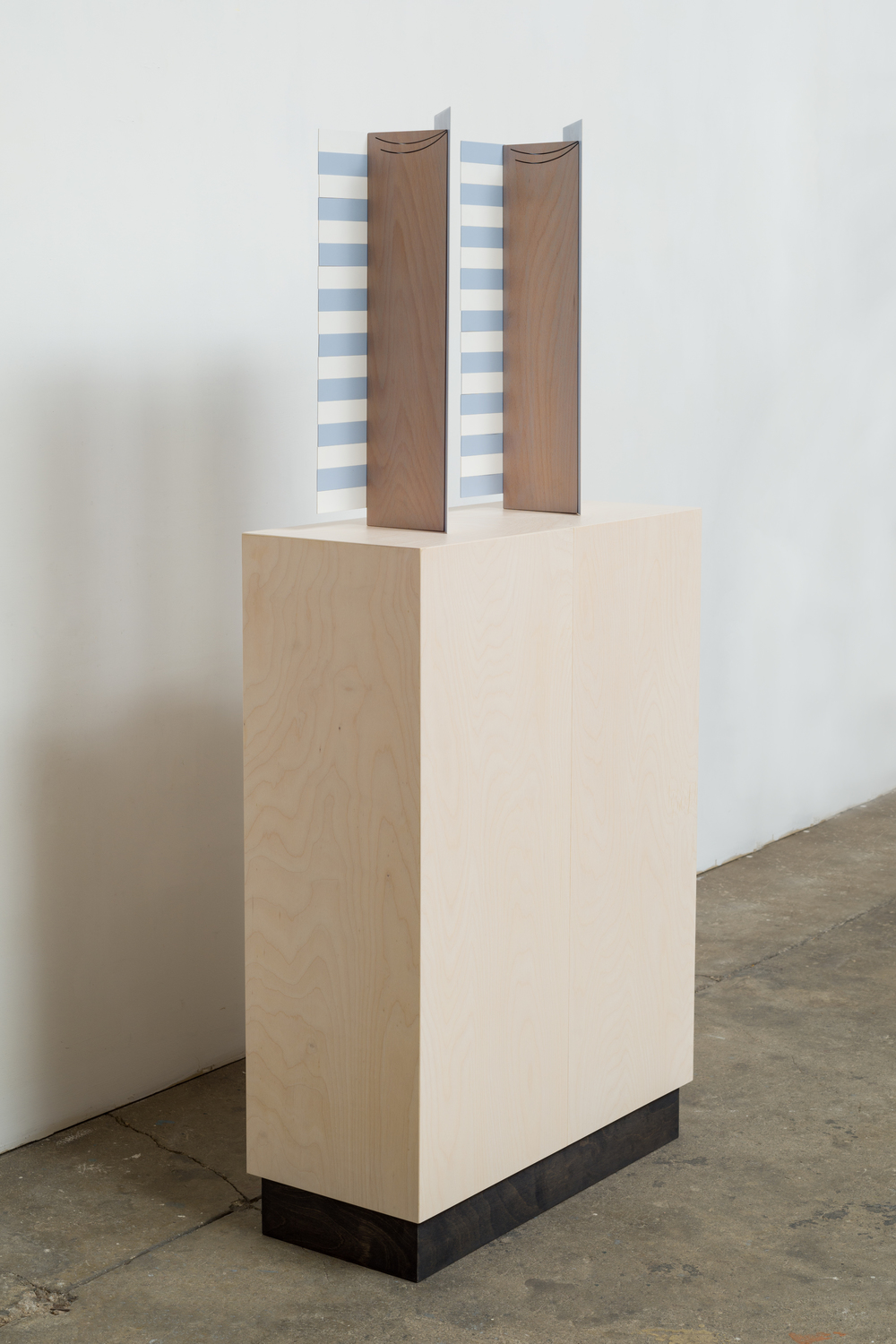 Screen (Double/Stripes) 2014 Euro-beech hardwood, steel, copper rivets, enamel, wax 2 parts, each: 48.2 x 20.5 x 12.7 cm / 19 x 8 x 5 in Plinth: 83.8 x 60.9 x 25.4 cm / 33 x 24 x 10 in