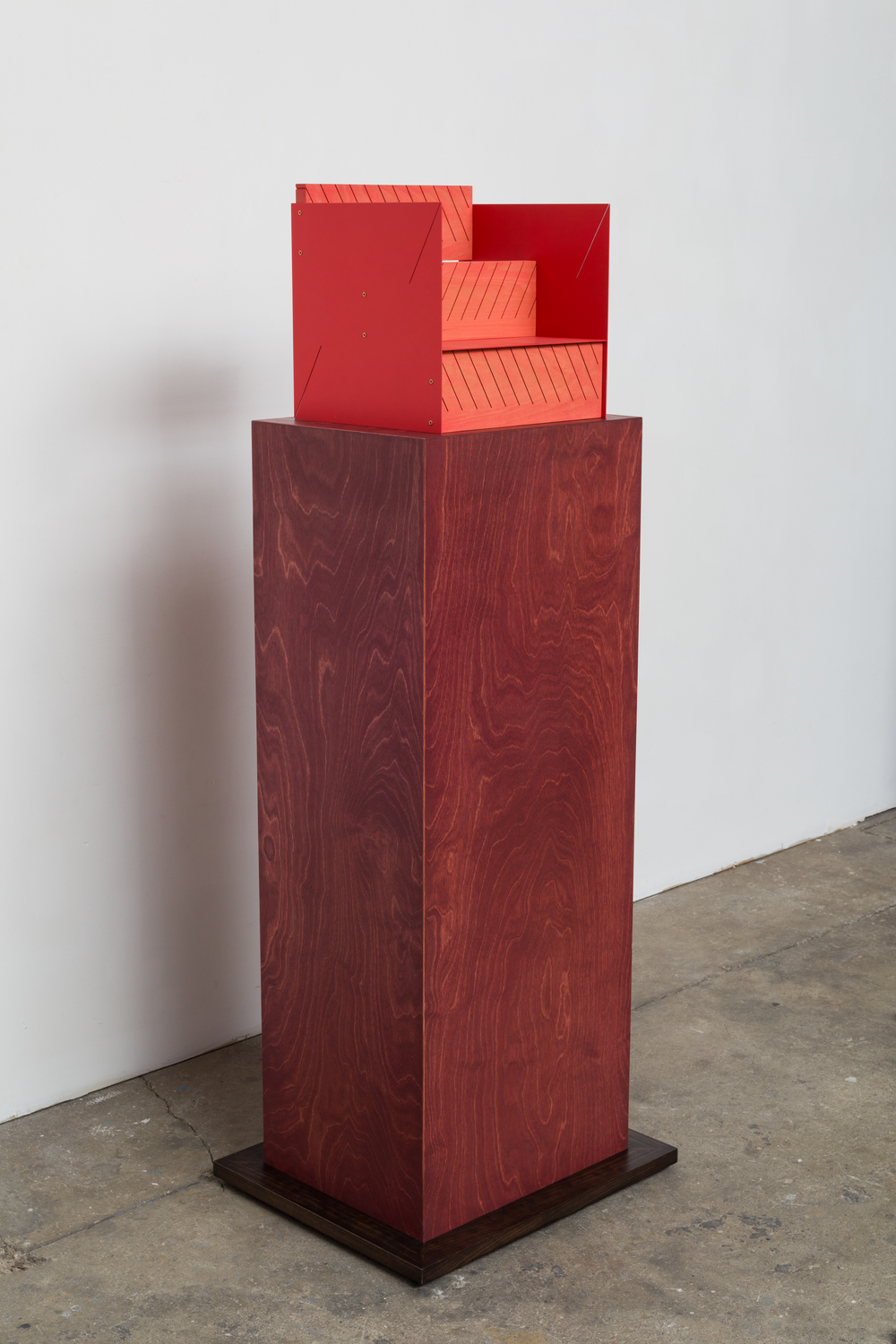 Steps (Zig Zag)  2014 Euro-beech hardwood, steel, copper rivets, enamel, wax 30.4 x 30.4 x 27.9 cm / 12 x 12 x 11 in Plinth: 120 x 50.8 x 43.1 cm / 47.2 x 20 x 17 in