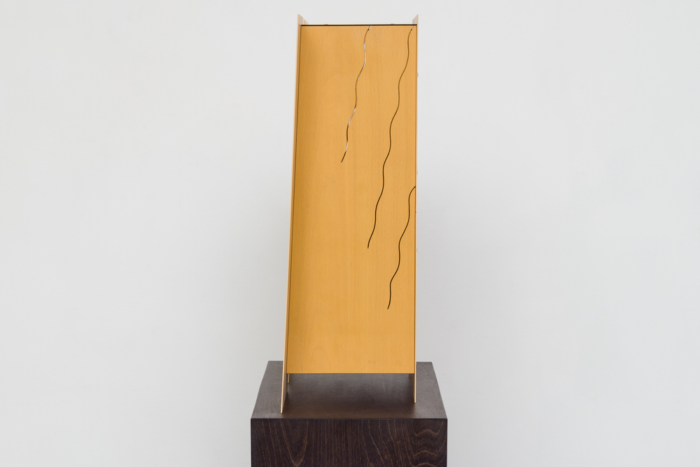 Mantle  2014 Euro-beech hardwood, steel, copper rivets, enamel, wax 50.8 x 43.1 x 17.7 cm / 20 x 17 x 7 cm Plinth: 91.4 x 60.9 x 25.4 cm / 36 x 24 x 10 in