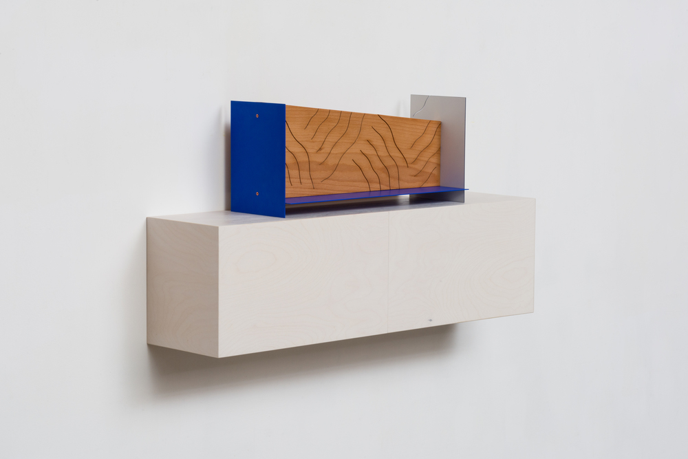 Inlay (Ultra Blue) 2014 Euro-beech hardwood, steel, copper rivets, enamel, wax 17.7 x 45.7 x 15.2 cm / 7 x 18 x 6 in Shelf: 22.8 x 76.2 x 20.3 cm / 9 x 30 x 8 in