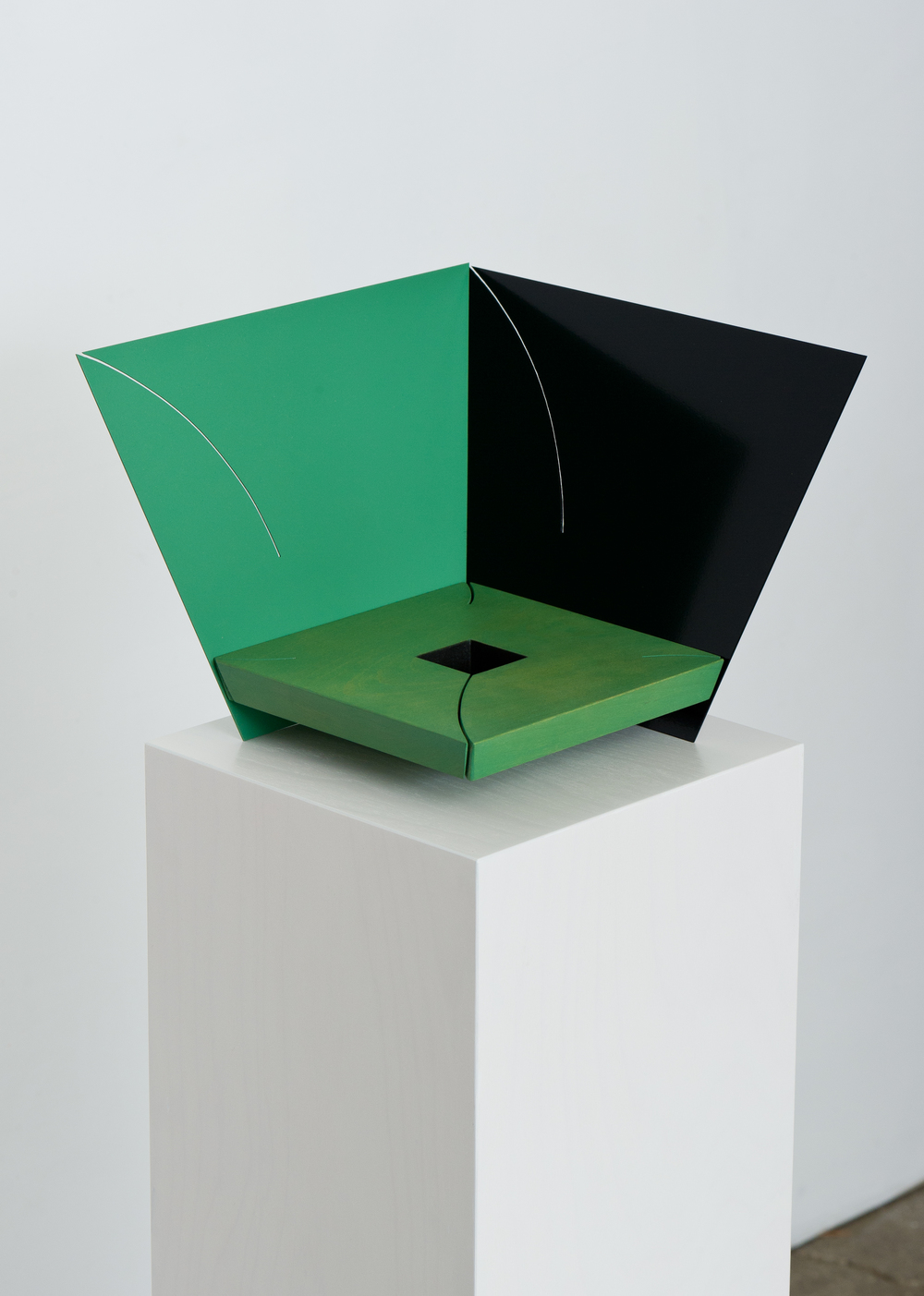Corner (Jade) 2014 Euro-Beech hardwood, steel, copper rivets, enamel, wax 26.6 x 26.6 x 20.3 cm / 10.5 x 10.5 x 8 in Plinth: 83.8 x 22.8 x 22.8 cm / 33 x 9 x 9 in