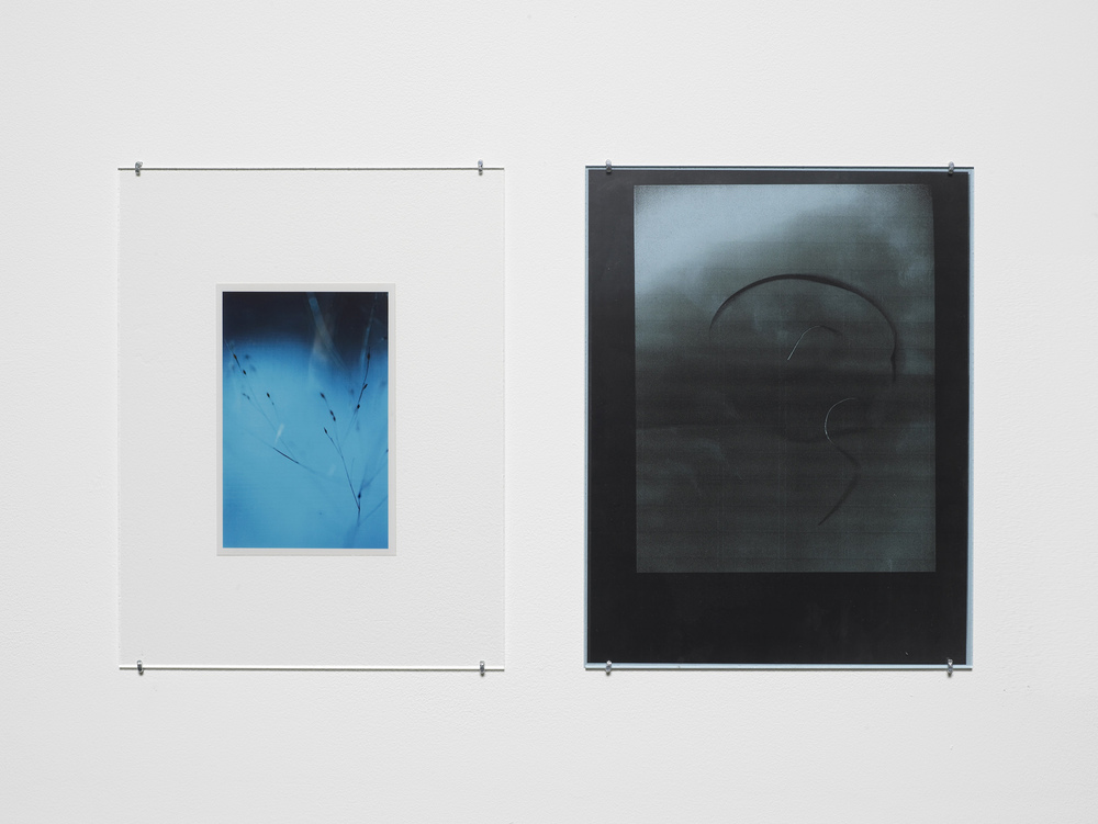 Untitled 2012-2015 Unique C-print, inkjet print on transparency, photocopy on coloured paper, non-reflective perspex, L shaped pins  2 parts, each: 27.9 x 21.5 cm / 11 x 8.5 in