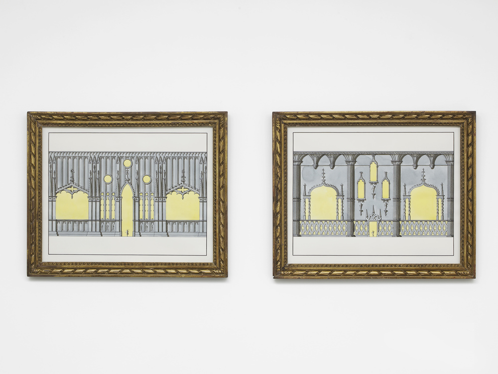 Two Neo-Gothik wall treatments 2015 Ink and watercolour on paper in artist's frame 2 parts, each: 54.5 x 66.1 cm / 21.4 x 26 in
