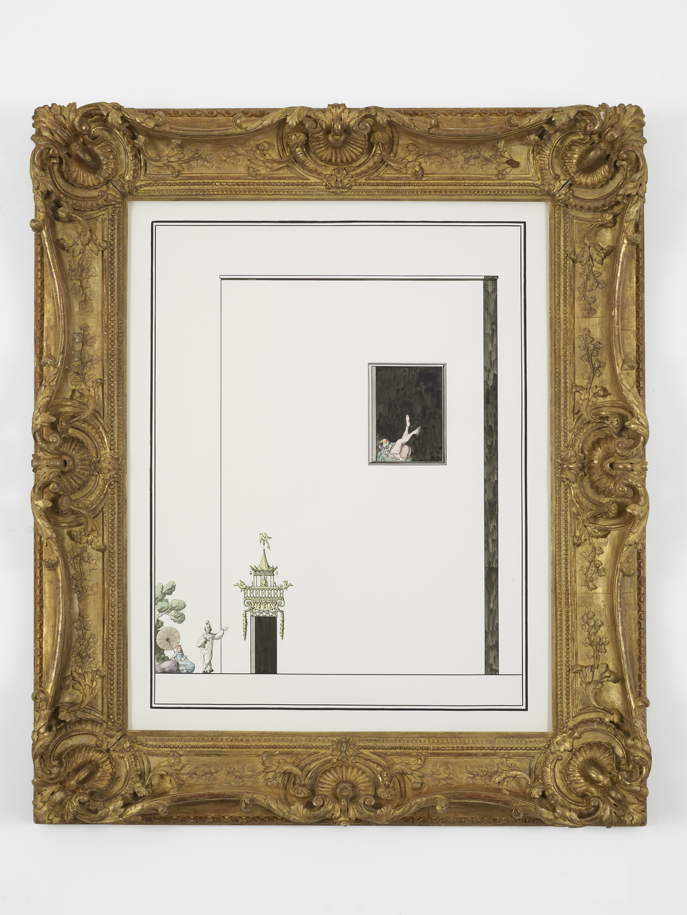 Scene from the Commedia: Pierrot bores Columbine with a detailed description of an elaborate doorframe. Meanwhile, Harlequin has sex with a servant upstairs 2014 Ink and watercolour on paper in artist's frame