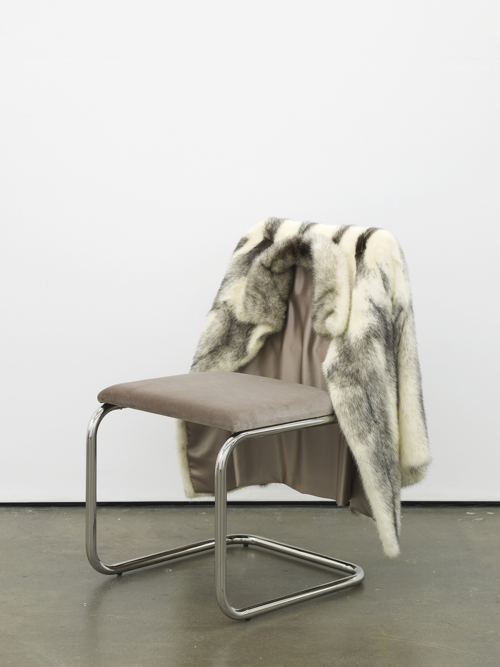 Untitled Chair - CBM-0 2015 Vintage fur, steel tubing, upholstery, silk and velvet 85 x 65 x 60 cm / 33.4 x 25.5 x 23.6 in