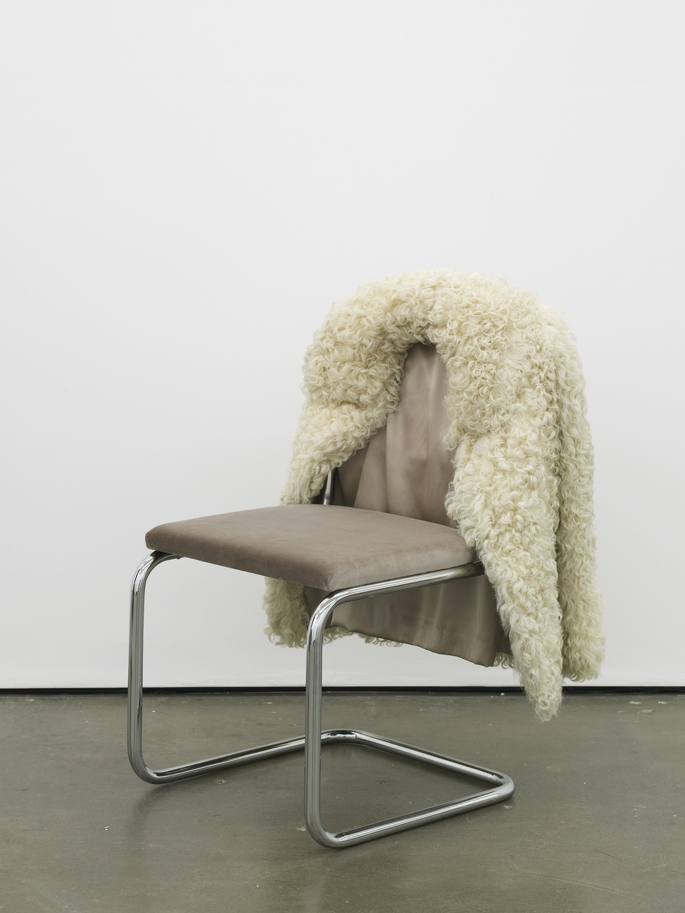 Untitled Chair - AL-0            2015 Vintage fur, steel tubing, upholstery, silk and velvet 85 x 65 x 60 cm / 33.4 x 25.5 x 23.6 in